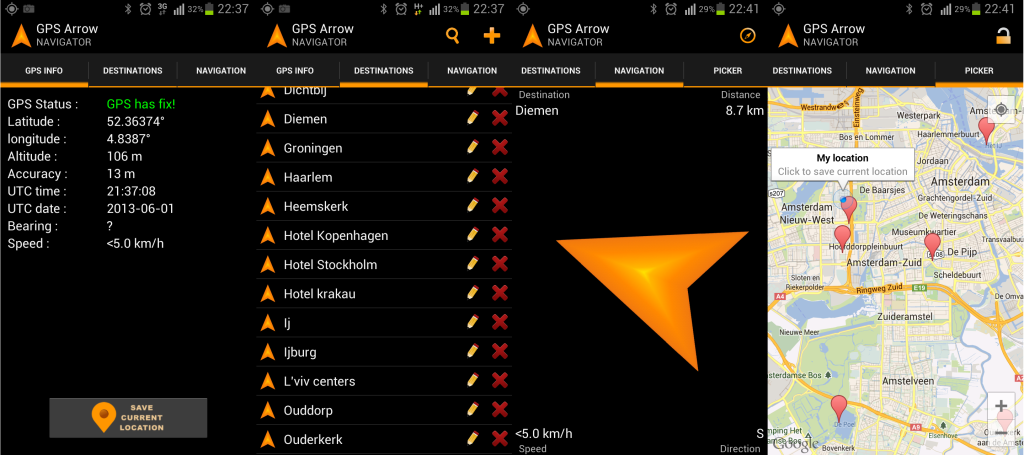 GPS Arrow screenshots